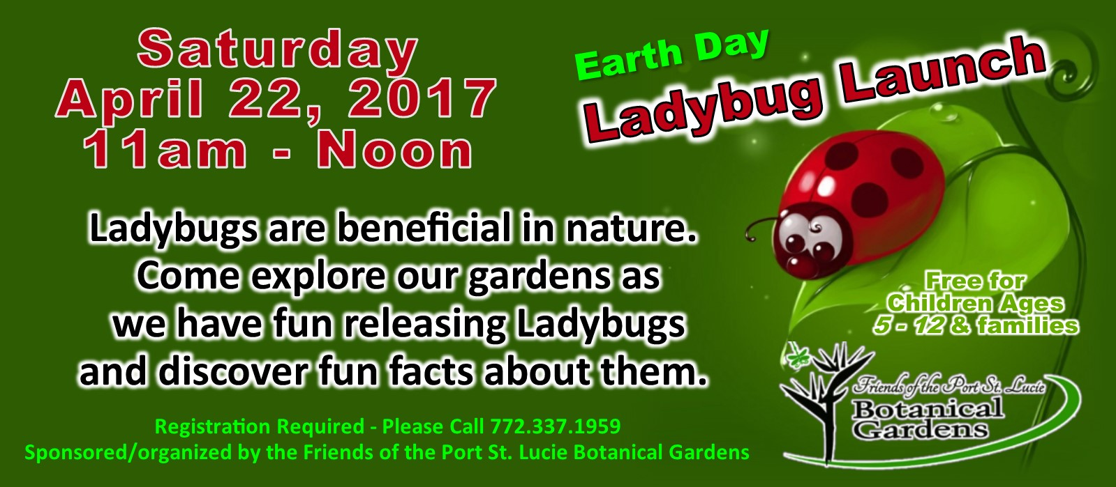 Childrens Event: Earth Day Ladybug Launch