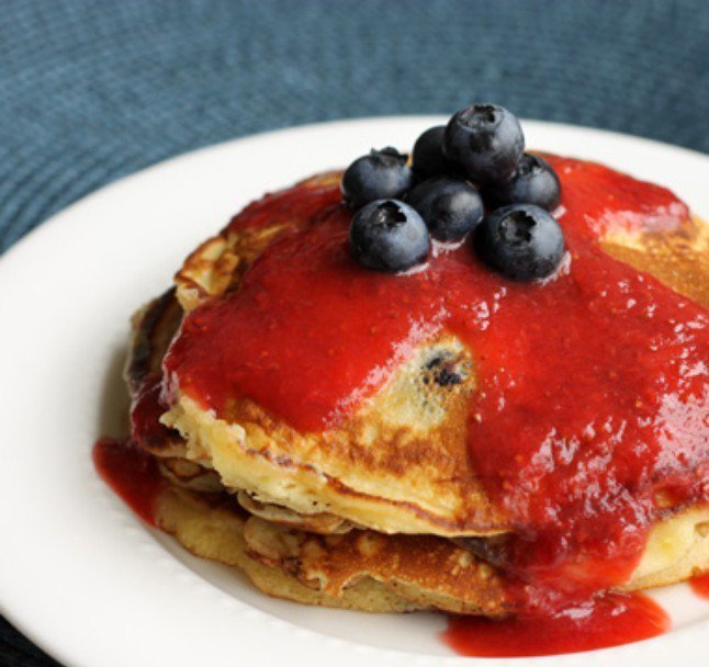 Blueberry Pancakes with Strawberry Sauce