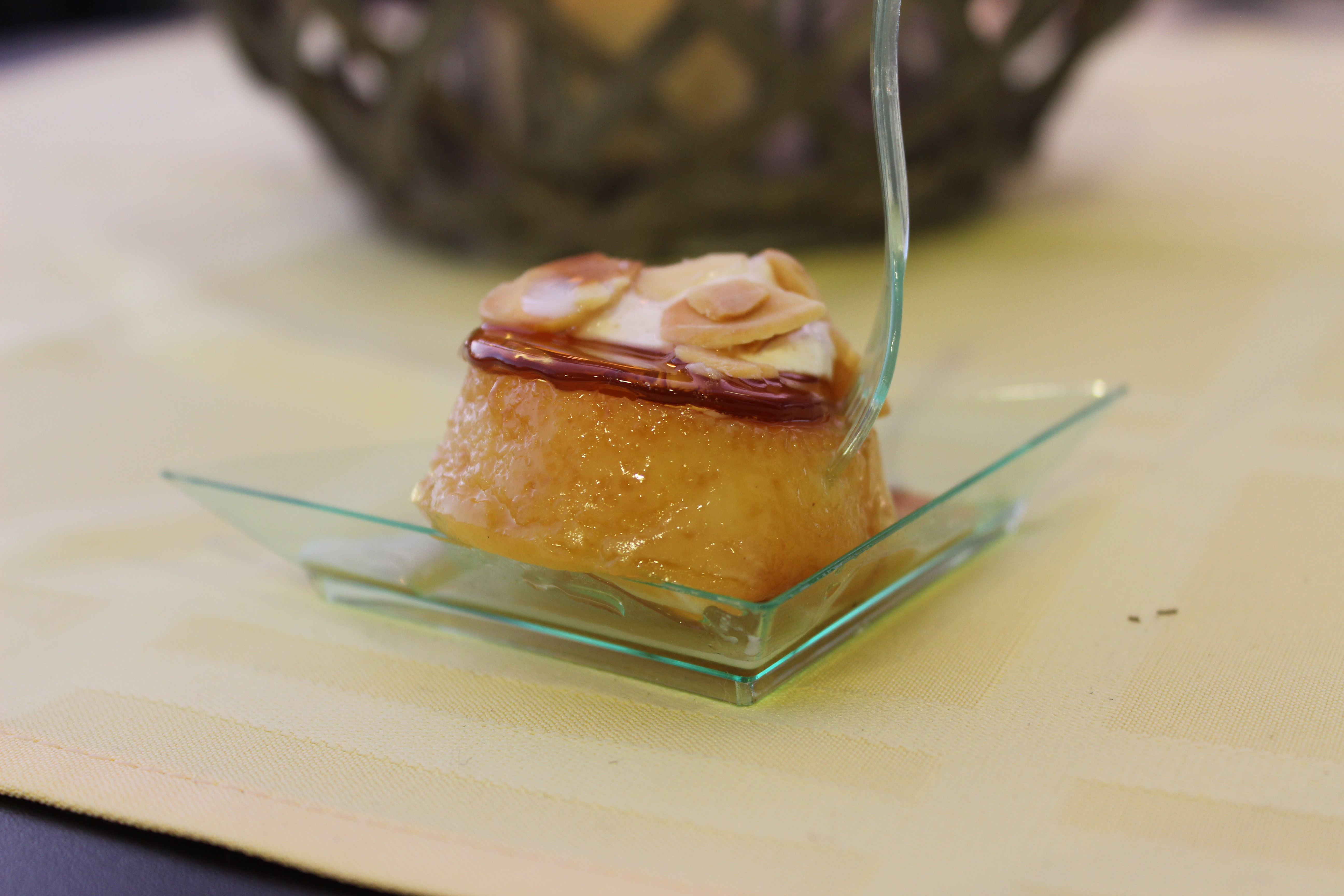 Rum Chata Flan with Cinnamon Weep Cream & Almond Candy