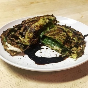 Zucchini Tortilla Grilled Cheese with Goat Cheese & Mozzarella Drizzled with Balsamic