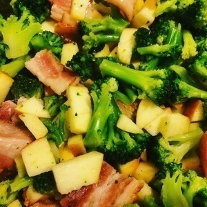 Bacon, apples, and broccoli